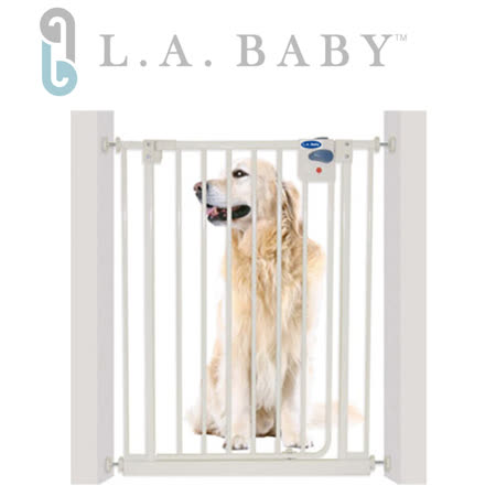 門欄L.A. Baby 美國加州貝比/加高加寬-安全自動上鎖門欄/寵物門欄/兒童門欄(贈兩支延伸片)