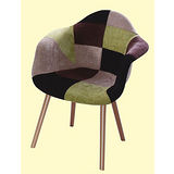 Rose布質扶手椅498-2(灰綠黑拼布色)