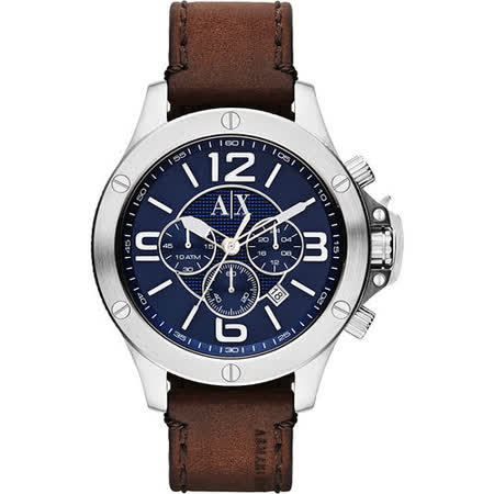 A│X Armani Exchange 重裝軍式風格計時腕錶-藍x咖啡/48mm AX1505