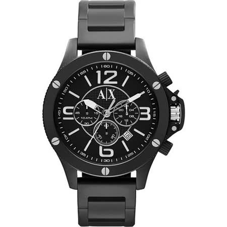A│X Armani Exchange 重裝軍式風格計時腕錶-IP黑 AX1503