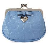 COACH 新款漆皮大C紋愛心墜飾珠扣零錢包-水藍色