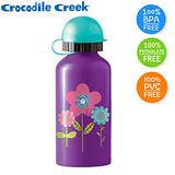 【美國Crocodile Creek】兒童不鏽鋼水瓶(紫色花朵)