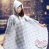 三隻小熊 時尚EVA無毒環保斗篷風雨衣(寶藍)
