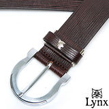 Lynx - 山貓卓越經典款穿針式真皮皮帶-品味咖