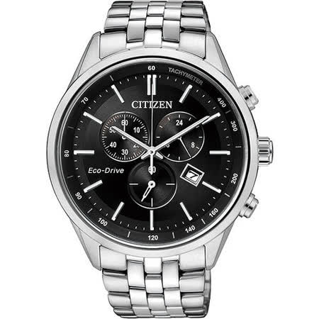 CITIZEN GENT S 時尚光動能計時腕錶-黑x銀 AT2140-55E
