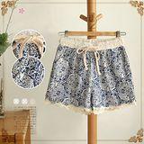 【MIDORI╭。綠】復古青花瓷圖騰棉麻短褲(FD00060)