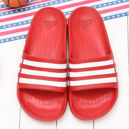 Adidas愛迪達男女款經典紅愛迪達拖鞋DG15886