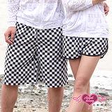 【天使霓裳】 熱情狂放祭 型男美人情侶海灘褲(黑白格紋)