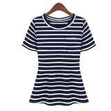 【韓系女衫】韓版俏麗短袖條紋海軍風圓領上衣