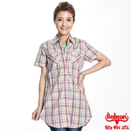 BOBSON 女款格紋短袖長版襯衫(20123-62)