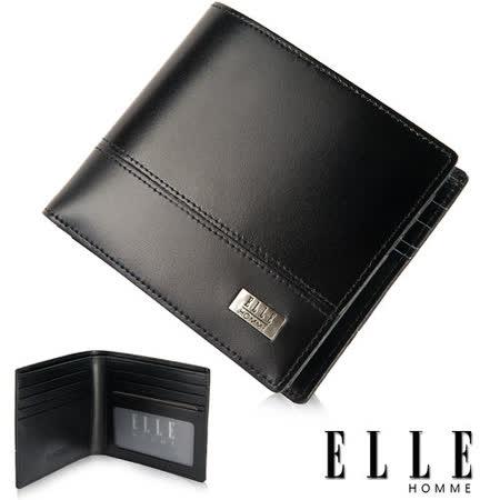 ELLE HOMME 精品短夾 水波紋 單層 鈔票多層/收納夾名片/證件層設計-黑EL81793-02