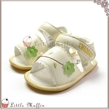 氣質滿分白色花朵魔鬼氈小涼鞋 止滑膠底學步鞋 可穿出門唷 SMI260