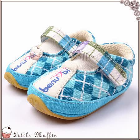 氣質格紋藍色魔鬼氈小球鞋 止滑膠底學步鞋 可穿出門唷 SMI259