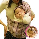 橘子無環背巾禮盒組-粉紫格紋(內含背巾+髮帶+抱枕)