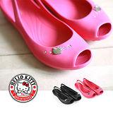HELLO KITTY 鑽防水魚口涼鞋雨鞋  三麗鷗授權正版商品-桃紅/黑色
