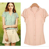 【韓系女衫】流行設計款荷葉袖雪紡襯衫