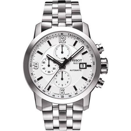 TISSOT T-Sport PRC200 競速三眼計時機械腕錶-銀 T0554271101700