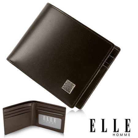 ELLE HOMME 法式短夾 樹紋 嚴選義大利皮革、鈔票多層/證件/名片格層設計短夾-咖啡EL81802-45