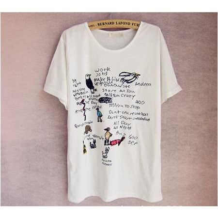 【Maya Collection森林系】卡通童趣鳥語呢喃短袖寬鬆T恤