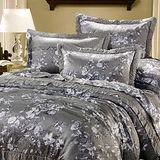 《KOSNEY 灰夢花語 》加大100%天絲TENCEL八件式兩用被床罩組