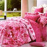 《KOSNEY 花語風情紅 》加大100%天絲TENCEL八件式兩用被床罩組