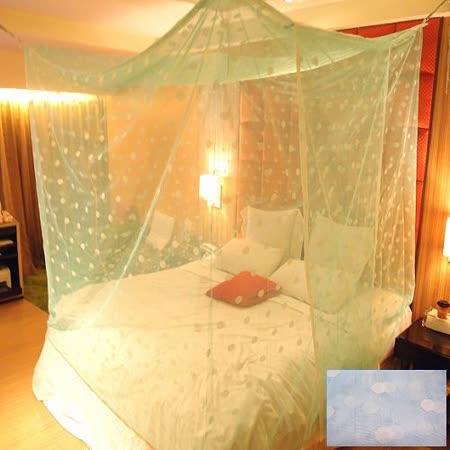 SHINEE 100%台灣製 高密度雙人五尺內格蚊帳- 水藍色圓點(買就送棉質綁繩x4)