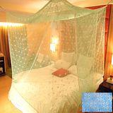 SHINEE 100%台灣製 高密度特大雙人6X7尺內格蚊帳- 水藍色星花(買就送棉質綁繩x4)