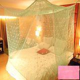 SHINEE 100%台灣製 高密度特大雙人6X7尺內格蚊帳- 粉色圓點(買就送棉質綁繩x4)