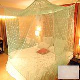 SHINEE 100%台灣製 高密度特大雙人6X7尺內格蚊帳- 米色圓點(買就送棉質綁繩x4)