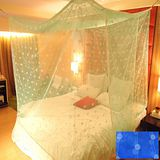 SHINEE 100%台灣製 高密度單人3.5尺內格蚊帳- 深藍色圓點(買就送棉質綁繩x4)