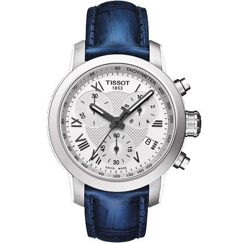 TISSOT PRC 200 ladies 活力四射三眼計時腕錶^(藍35mm^) T05