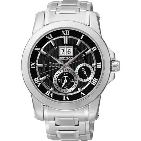 SEIKO PREMIER 人動電能萬年曆腕錶-黑 7D56-0AB0D