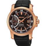 SEIKO Kinetic 互動式人動電能時尚腕錶-咖啡x玫塊金 5D22-0AD0K