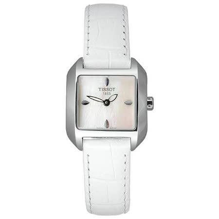 TISSOT T-Wave 水漾柔情珍珠貝時尚女錶(白皮/25mm) T02125571