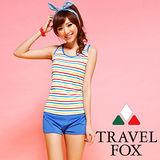【TRAVELFOX 旅狐】多彩條紋長版三件式泳衣C14713