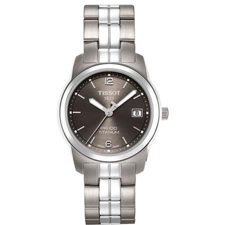 TISSOT PRC100「鈦」簡潔優雅時尚女錶(鐵灰/28mm) T0493104406700