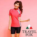 【TRAVELFOX 旅狐】運動風長版二件式泳衣C14710