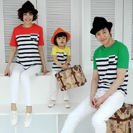 韓版時尚S85《拼色條文款》短袖親子裝@四件組【預購款】