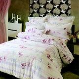 《KOSNEY》紫花色彩(頂級加大AB花版活性精梳棉六件式床罩組台灣精製)