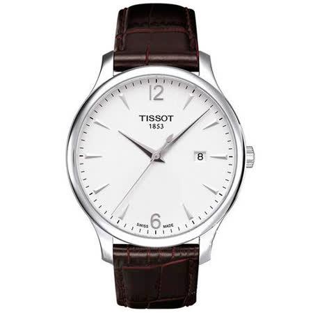 TISSOT T-TRADITION 尊爵超薄都會型男腕錶(白/42mm) T0636101603700
