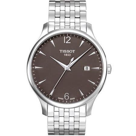 TISSOT T-TRADITION 尊爵超薄都會型男腕錶(咖啡/42mm) T0636101106700