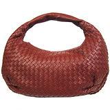 BOTTEGA VENETA 經典小羊皮編織肩背包(中/紅棕)