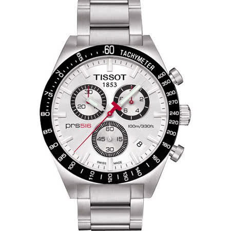 TISSOT PRS516 傲氣天下三眼計時賽車錶(銀/43mm) T0444172103100
