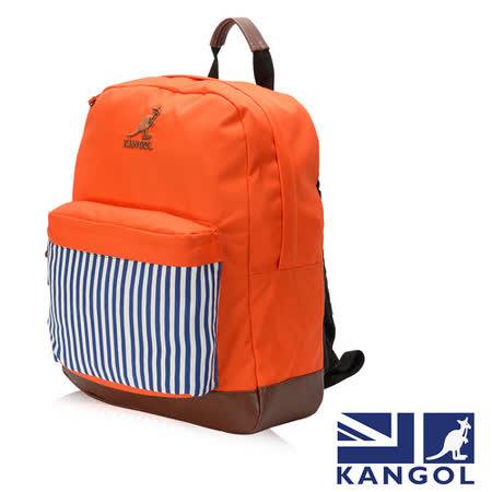 KANGOL 英式新潮時尚後背包袋鼠繡LOGO條紋元素可置放15吋筆電後背包-橘色 KG1101-I