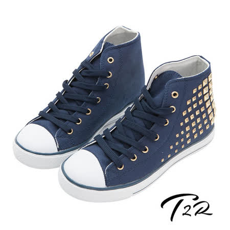 【韓國T2R】鉚釘百搭內增高休閒高筒帆布鞋 7cm 藍(5600-0112)