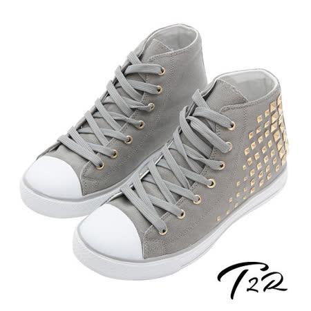 【韓國T2R】鉚釘百搭內增高休閒高筒帆布鞋 7cm 灰(5600-0111)