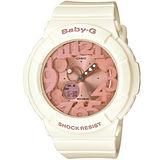 CASIO BABY-G 粉嫩甜美個性彩漾霓虹休閒錶(象牙白x玫瑰金)BGA-131-7B2