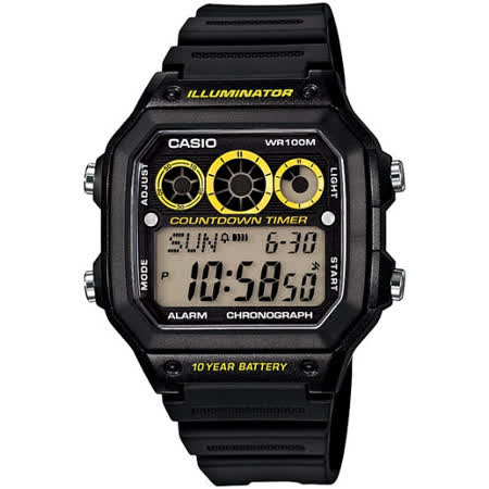 CASIO 雷神戰士個性運動電子錶(黑x亮黃圈)AE-1300WH-1A