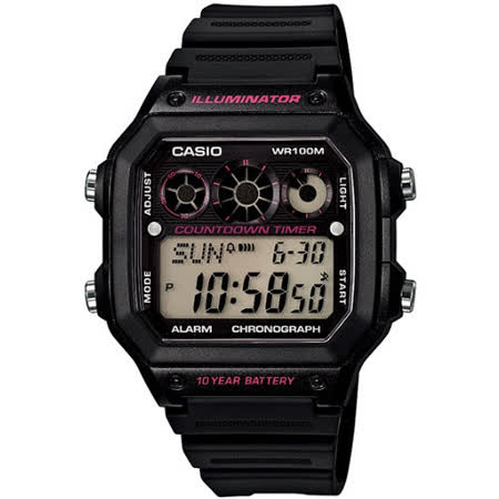CASIO 雷神戰士個性運動電子錶(黑x桃紅圈)AE-1300WH-1A2