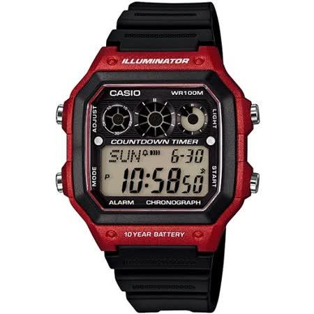 CASIO 雷神戰士個性運動電子錶(黑x紅)AE-1300WH-4A